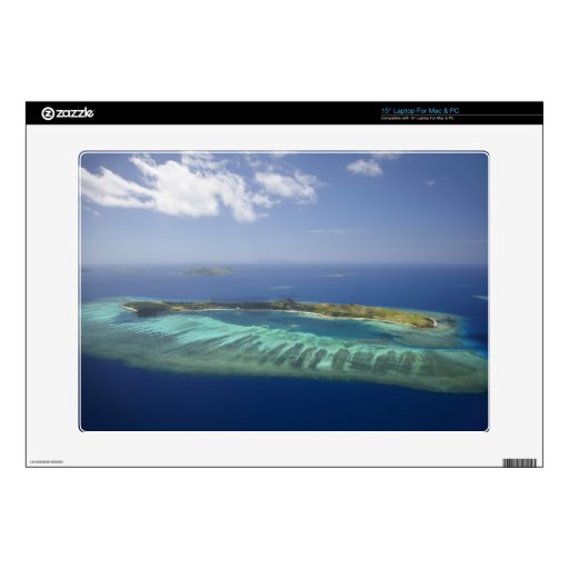 "Mana Island and coral reef, Mamanuca Islands 15"" Laptop Decals"