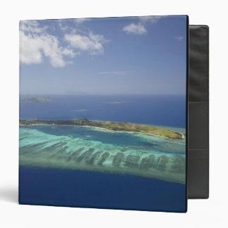 Mana Island and coral reef, Mamanuca Islands 3 Ring Binder