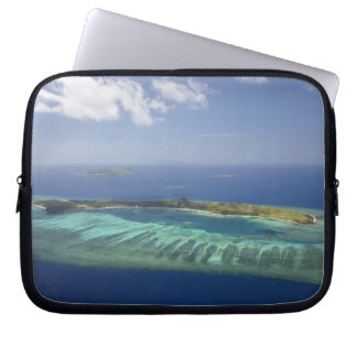 Mana Island and coral reef, Mamanuca Islands Computer Sleeve