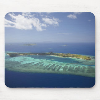 Mana Island and coral reef, Mamanuca Islands Mouse Pad