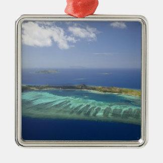 Mana Island and coral reef, Mamanuca Islands Christmas Tree Ornament