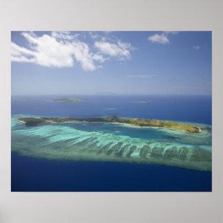 Mana Island and coral reef, Mamanuca Islands Poster