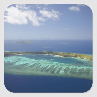 Mana Island and coral reef, Mamanuca Islands Square Sticker