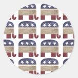 Manada de elefantes, republicana etiquetas redondas
