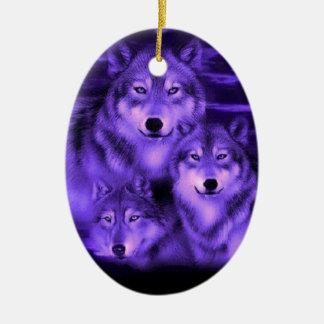 Manada de lobos adorno navideño ovalado de cerámica