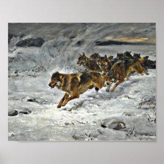 Manada de lobos corriente impresiones