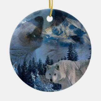 Manada de lobos del grito adorno navideño redondo de cerámica