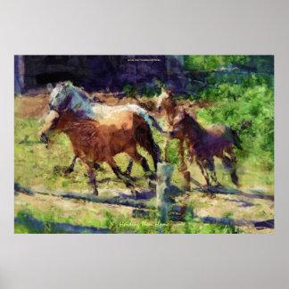 Manada de los caballos Cantering en un arte Póster