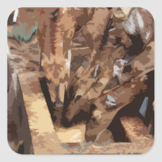 Manada de los ciervos - arte gráfico pegatina cuadrada