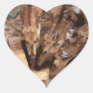 Manada de los ciervos - arte gráfico pegatina en forma de corazón
