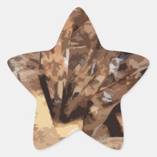 Manada de los ciervos - arte gráfico pegatina en forma de estrella