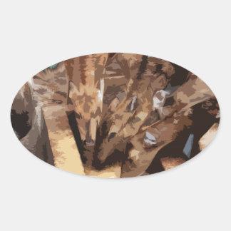 Manada de los ciervos - arte gráfico pegatina ovalada