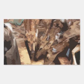 Manada de los ciervos - arte gráfico pegatina rectangular
