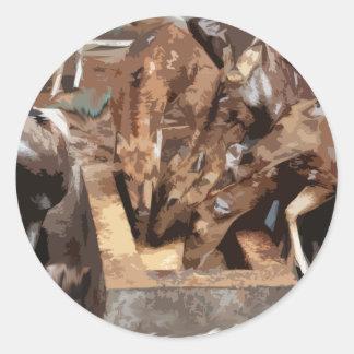 Manada de los ciervos - arte gráfico pegatina redonda