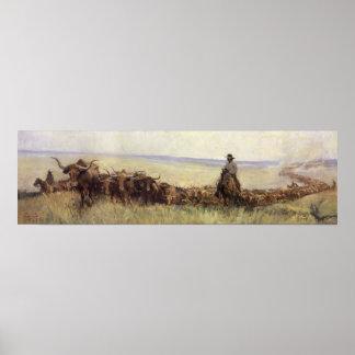 Manada del rastro a Wyoming por WHD Koerner Impresiones