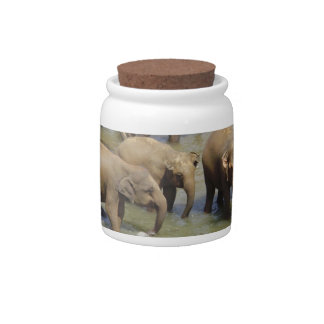 Manada del tarro del caramelo de los elefantes jarra para caramelo