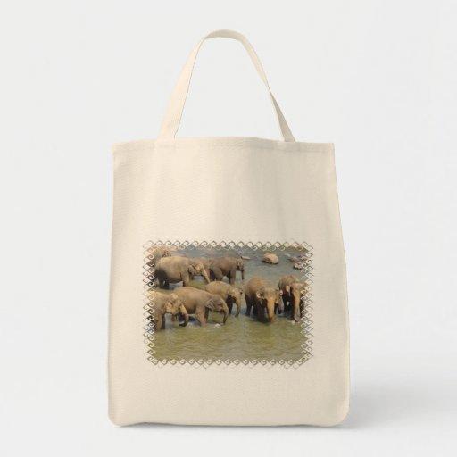 Manada del tote del ultramarinos de los elefantes bolsa tela para la compra