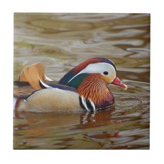 Manadarin-duck-on-water107 Ceramic Tile