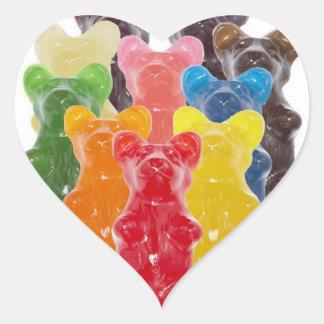 Manadas gomosas lindas divertidas del oso pegatina en forma de corazón