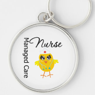 Managed Care Nurse Chick v1 Silver-Colored Round Keychain