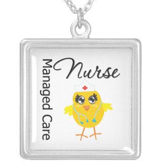 Managed Care Nurse Chick v1 Square Pendant Necklace