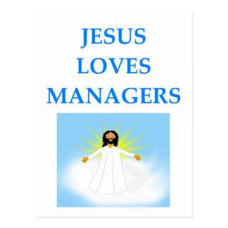 MANAGER POSTCARD