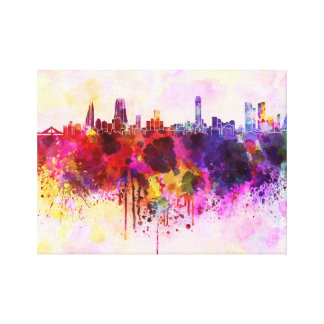 Manama skyline in watercolor background canvas print
