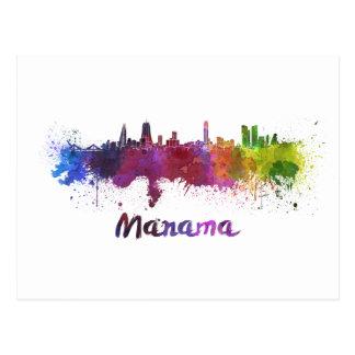 Manama skyline in watercolor tarjeta postal