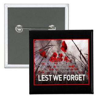 Mañana botones del día de la conmemoración pin cuadrado