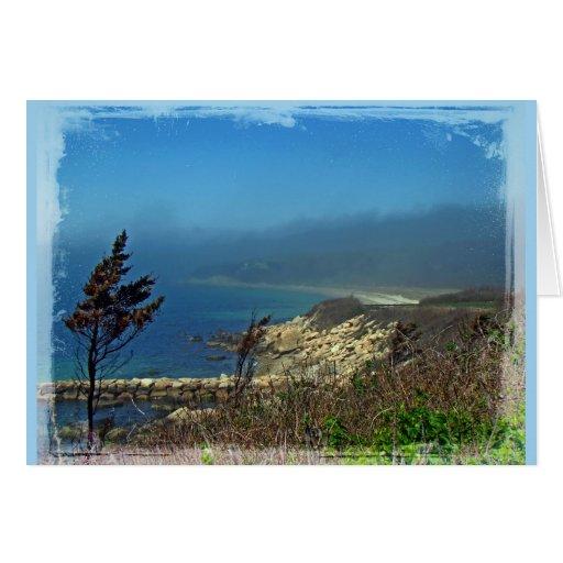 Mañana brumosa en el punto de Nobska - Cape Cod mA Tarjetón