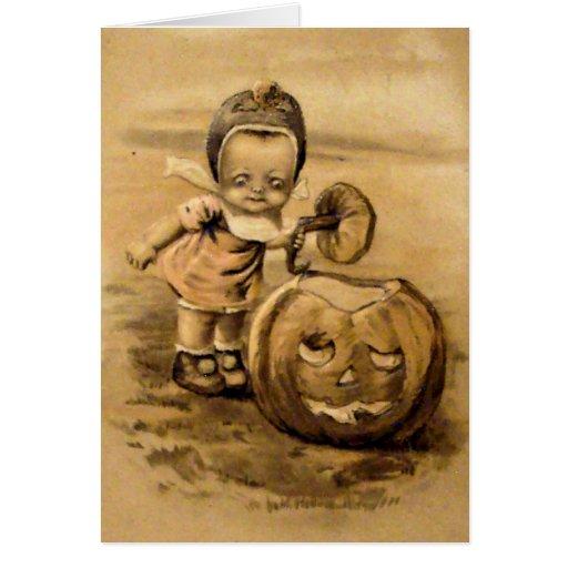 Mañana de Halloween (tarjeta de Halloween del vint