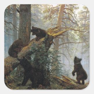 Mañana de Ivan Shishkin en un bosque del pino Pegatina Cuadrada