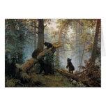 Mañana de Ivan Shishkin en un bosque del pino Tarjeta De Felicitación