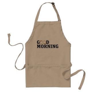 Mañana de la mancha del café buena delantal