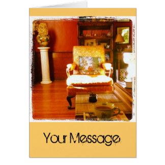 Mañana de la sala de estar tarjeta de felicitación