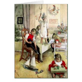 Mañana de navidad de Carl Larsson en Suecia Tarjeta De Felicitación