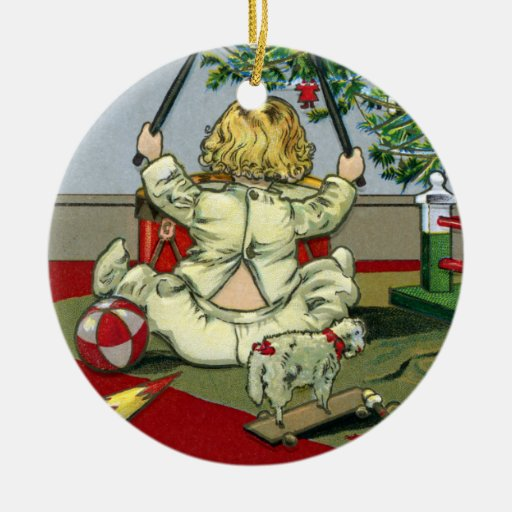 Mañana de navidad debajo del árbol adorno navideño redondo de cerámica
