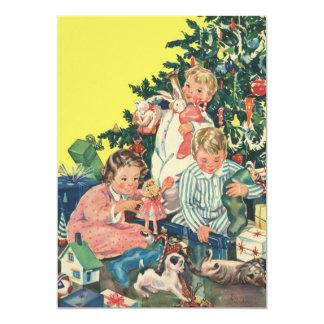 """Mañana de navidad del vintage, niños que abren los invitación 5"""" x 7"""""""