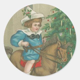Mañana de navidad del vintage pegatina redonda