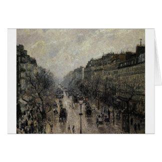 Mañana de niebla de Montmartre del bulevar de Tarjeta De Felicitación