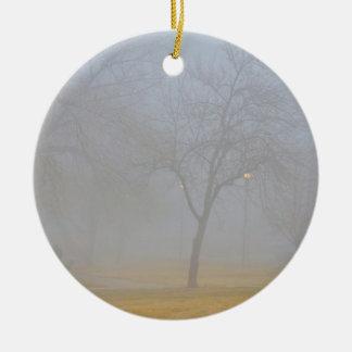 Mañana de niebla del parque adorno de navidad