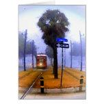 Mañana de niebla del tranvía del canal tarjeta de felicitación