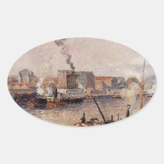 Mañana de niebla, Ruán de Camille Pissarro Pegatina Ovalada