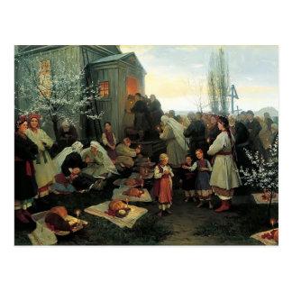 Mañana de oración de Mykola Pymonenko-Pascua Malo Postal