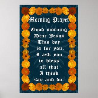 Mañana de oración en un marco del Calendula Posters