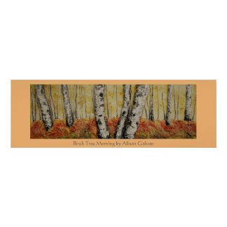 Mañana del árbol de abedul del artista fino Alison Póster