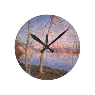 Mañana del invierno, 1878 reloj redondo mediano