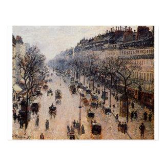 Mañana del invierno de Montmartre del bulevar de Postal