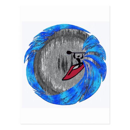 Mañana del invierno del kajak tarjetas postales