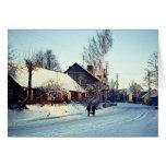 Mañana del invierno, Prienai, invierno de Lituania Felicitaciones